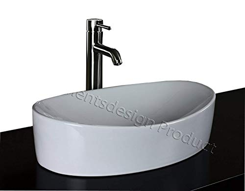 - ELIMAX'S Bathroom Ceramic Vessel Sink 7756CL3 With Brushed Nickel Faucet & Drain