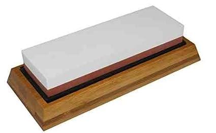 Piedra japonesa para afilar cuchillos al agua (granulado de 1000/3000) con soporte bambú,Doble lado by DELIAWINTERFEL