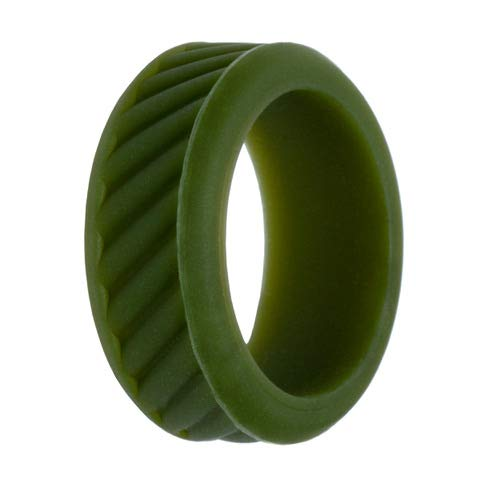 TUF Silicone Wedding Ring for Men, Hypoallergenic Safety Ring, Rubber Wedding Band for Him, Medical Grade Exercise Ring - (Olive Green Silicone Ring, Size 9)