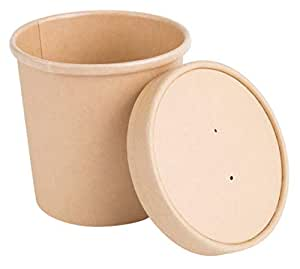 16 oz Pint Disposable Paper Food Storage Containers with Vented Lids, Pack of 25. Biodegradable, Compostable, Great for Soups, Ice Cream, to Go' Lunch, Hot & Cold Meals. Kraft Brown
