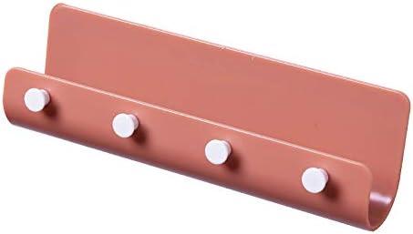 HUANGB U-förmiges Wandhakengestell, Modernes Einfaches Stanzfreies Lagerregal Mit 4 Haken Multifunktionale Kreative Heimhaken,Red