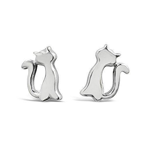 925 Solid Sterling Silver Mini Cat Stud Earrings - 100% Hypoallergenic Nickel & Lead Free Animal Jewelry