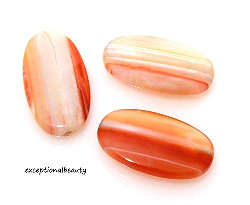(4 Sardonyx Banded Onyx Agate Stone Focal 14x25mm Polished Flat Oval Beads)