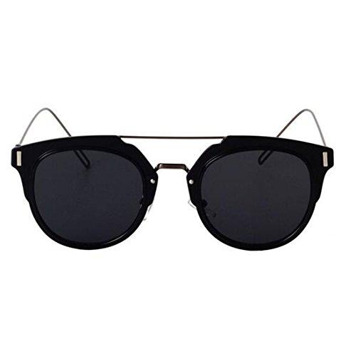 Price comparison product image GAMT Desginer Vintage Sunglasses Retro Full-rim Metal Frame Round Lens Fashion Style Black Frame Black