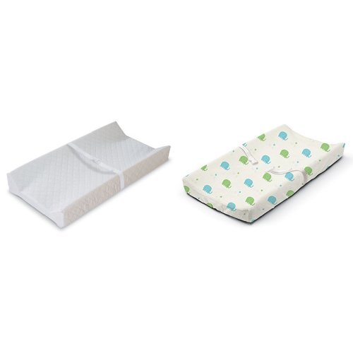 Summer Infant Contoured Changing Pad White with Changing Pad Cover Elephant March