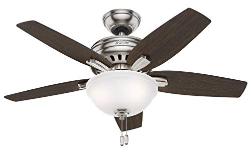 Hunter Indoor Ceiling Fan with light and pull chain control - Newsome 42 inch, Brushed Nickel, 51088