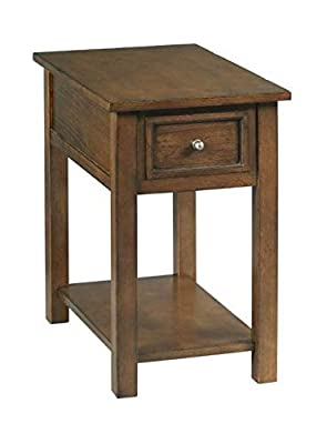 Hammary 24 in. Chairside Table in Distressed Dark Stain Finish