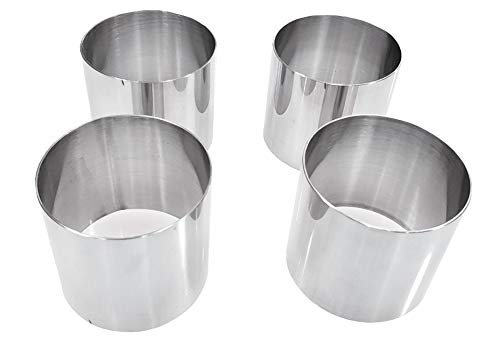 Plating Forms Stainless Steel Ring Mold Sets (4 Count) (3'' X 2.75'' (4 PK)) by Sunrise Kitchen Supply