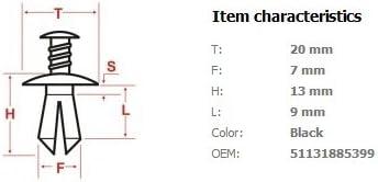 Clips und Klammern 51131885399 T/ürverkleidung Befestigung Clips 10 St/ücke Schwarz