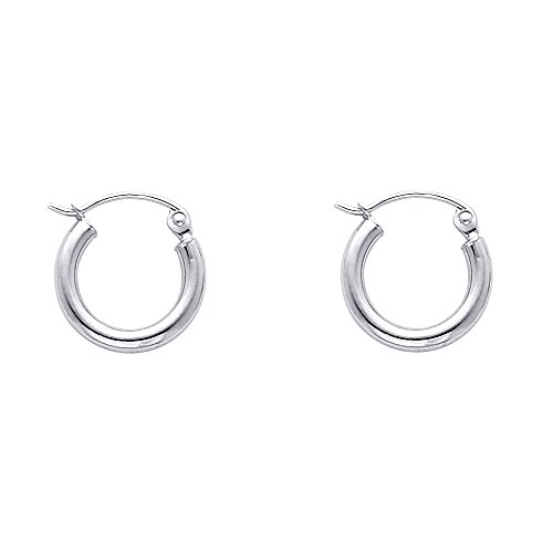 [14k White Gold 2mm Thickness Hinged Hoop Earrings (13 x 13 mm)] (White Gold Silver Hoop)