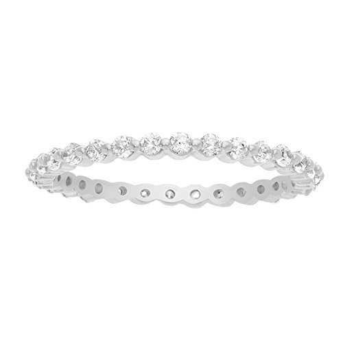 18K White Gold Over Sterling Silver Cubic Zirconia Bezel Eternity Band Ring (Size 7) (Pocket Watch 7 Jewels)