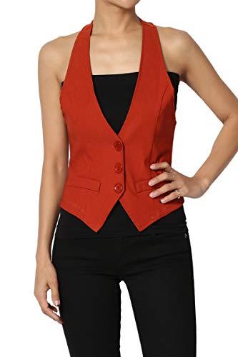 TheMogan Junior's Dressy Casual Racerback Slim Suit Vest Waistcoat Rust L