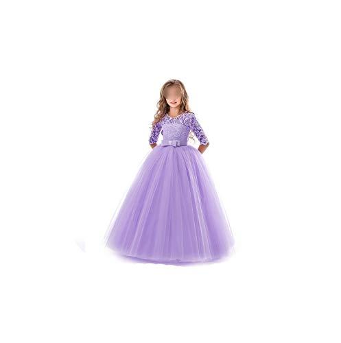 Girl Costume Teenage Clothing Party Elegant Princess Long Tulle Lace Wedding Ceremony,Purple,7
