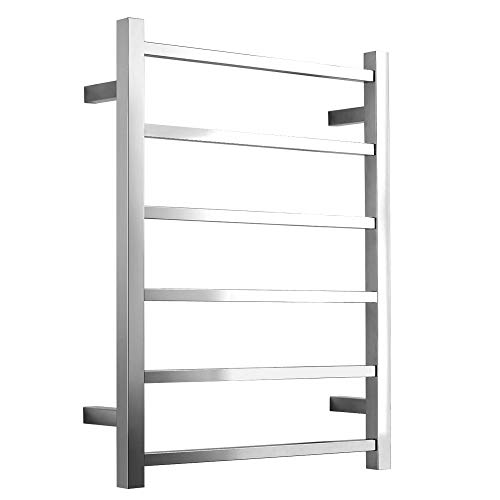 ZJINHUI Stainless Steel Electric Heated Towel Warmer, Chrome Wall-Mounted Hot Towel Rack, Hard-Wired Towel Drying Rack, Rustproof, Plug-in, Polished Finished ()