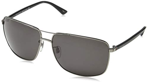 (Gucci Men GG0065SK 66 Gunmetal/Grey Sunglasses 66mm)