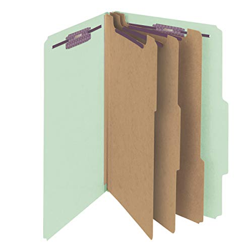 Smead Pressboard Classification File Folder with SafeSHIELD Fasteners, 3 Dividers, 3