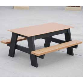4' Kids Picnic Table, Recycled Plastic, Cedar (4' Kids Picnic Table)
