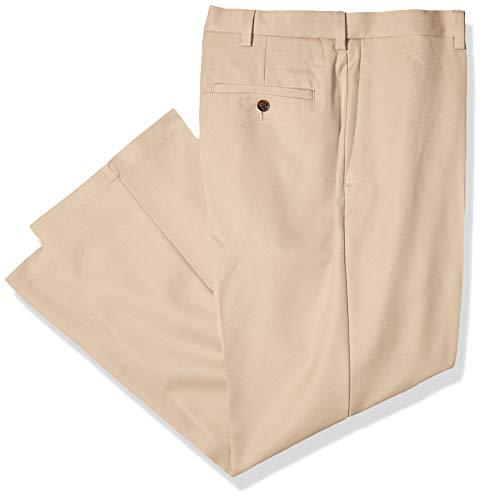 Haggar Men's Cool 18 PRO Classic Fit Flat Front Expandable Waist Pant, Khaki, 42Wx28L ()