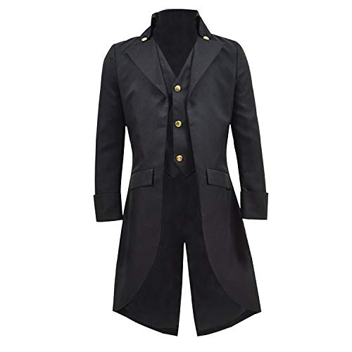 COSSKY Boys Gothic Tailcoat Jacket Steampunk Long Coat Halloween Costume (Black, 16) for $<!--$45.99-->