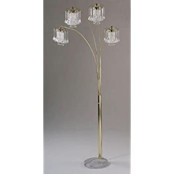 Arc Floor Lamp With Crystalline And Marble Base In Gold