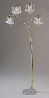 Arc Floor Lamp with Crystalline and Marble Base in Gold Finish