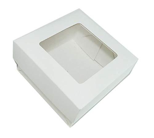 Caixa Para Doces Lembrancinha Branco 8x8x4 Visor Pvc Com 30