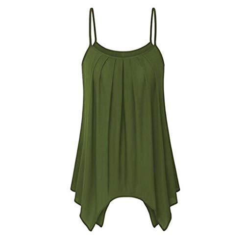 Tanks for Women,Sunyastor Womens Sleeveless Pleated O-Neck Casual Irregular Hem Vest Summer Soft Cami Tank Top Army Green