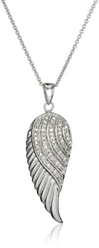 (Jewelili Sterling Silver Diamond Angel Wing Pendant Necklace (1/10 cttw), 18