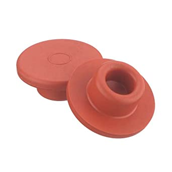Wheaton 224100-330 Rubber 30mm Straight Plug Style Stopper, Natural Red Rubber/40 (Case of 1000)