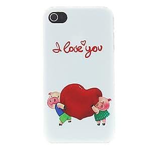 Cerdo Lovers Holding Heart with TE AMO Impreso Mate Patrón Diseñado estuche rígido de la PC para el iPhone 4/4S