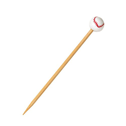 Baseball Themed Bamboo Pick Skewer (Case of 100), PacknWood - Biodegradable Wood Skewer Sticks for Appetizers, Drinks (4.7