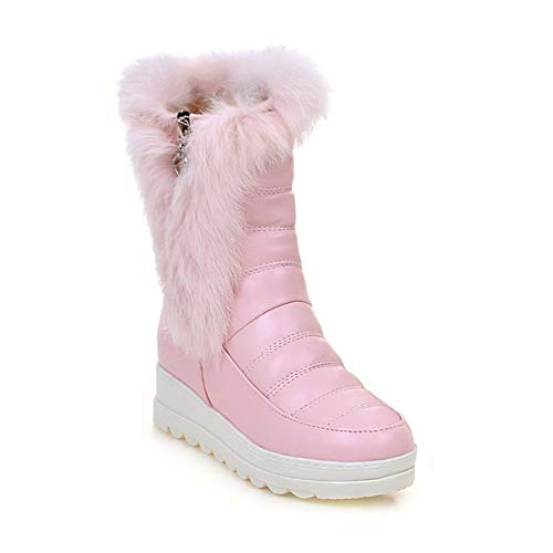 Lining Womens warm Winter Boots High Pink slip Fur snow Boots Non Shoes Sx Outdoor With Top 0dqwHd