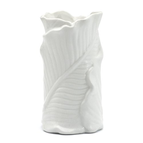 EPFamily White Leaf Ceramic Flower Vase,Mini Flower Vase for Home Decor,Gift and Kids