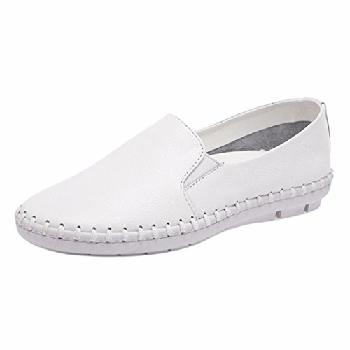 Casual Fashion Womens Boat Shoes Casual Slip On Flats Loafers Single Shoes White