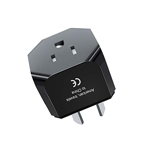iKits Australia China New Zealand Travel Plug Adapter, AU to US Plug Adaptor, USA Input for American, Canadian, Japanese-Type I-Ultra Compact Grounded Pin International Charger Adaptor; Black