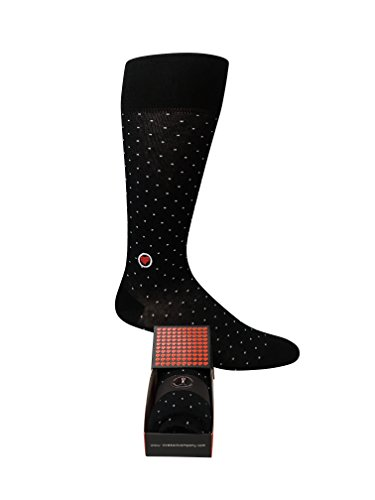 Individually gift boxed groomsmen dress socks with mini polka dots. Premium organic cotton (black, 1) (Individually Gift)