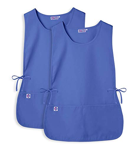 Cobbler Smock - Sivvan Unisex Cobbler Apron (2 Pack) - Adjustable Waist Ties, 2 Deep front Pockets - S87002 - Ceil Blue - X