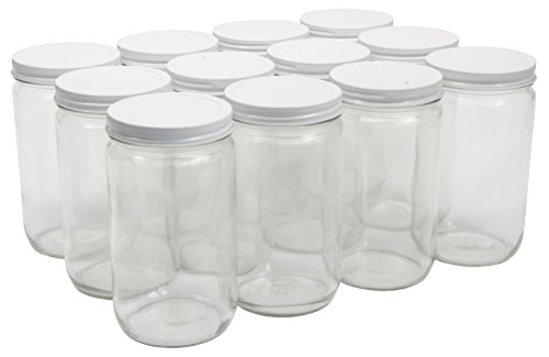 North Mountain Supply 32 Ounce Glass Quart Straight Sided Wide Mouth Canning Jars - With White Metal Lids - Case of 12