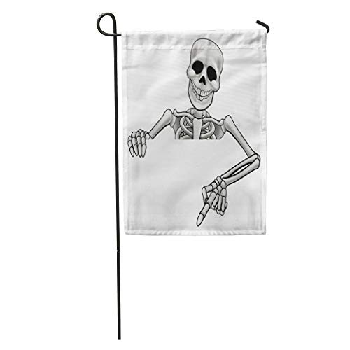 (Semtomn Garden Flag Hallowen Skeleton Halloween Cartoon Character Peeking Over Sign and Pointing Home Yard House Decor Barnner Outdoor Stand 28x40 Inches)