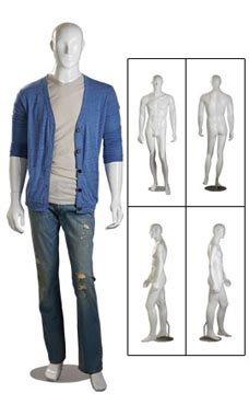 STORE001 1pc, Male Glossy White Cameo Fiberglass Mannequin