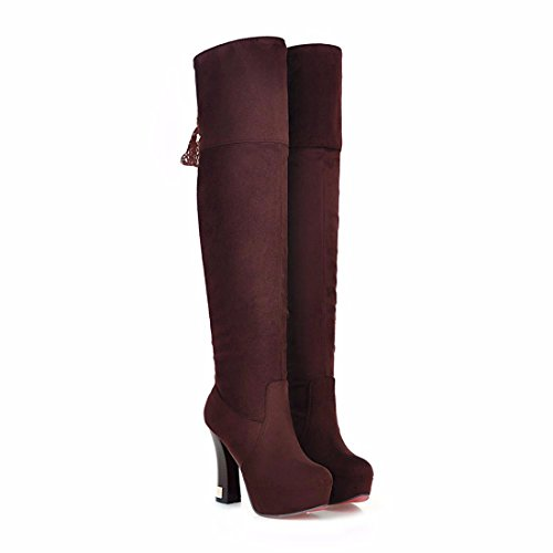 heeled Suede Brown RFF Knee Boots Ladies winter Women's Ultra boots Shoes high waterproof qXXU0wC