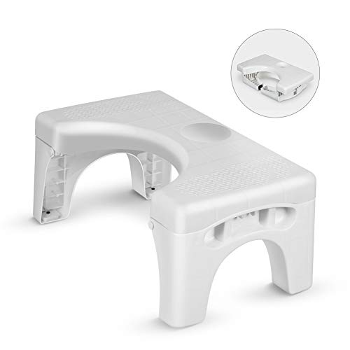 Folding Toilet Stool, Enow Multi-Function Foldable 7' Height Squatting Toilet Step Stool, with Silicone Foot Pad and Replaceable Spice Box, Fit for All Toilets