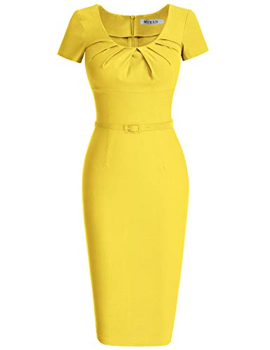 (MUXXN Women's Classy 1940s Scoop Neck Belt Bodycon Cocktail Dress (S Yellow))