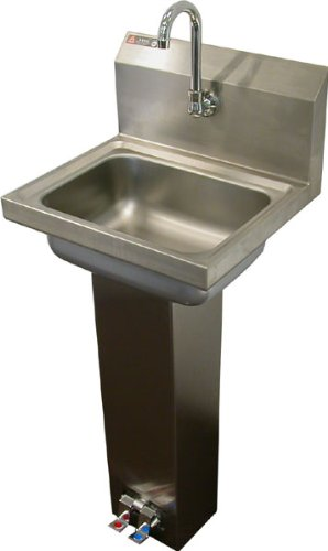 Aero stainless steel foot pedal opertaed utility sink with faucet and strainer