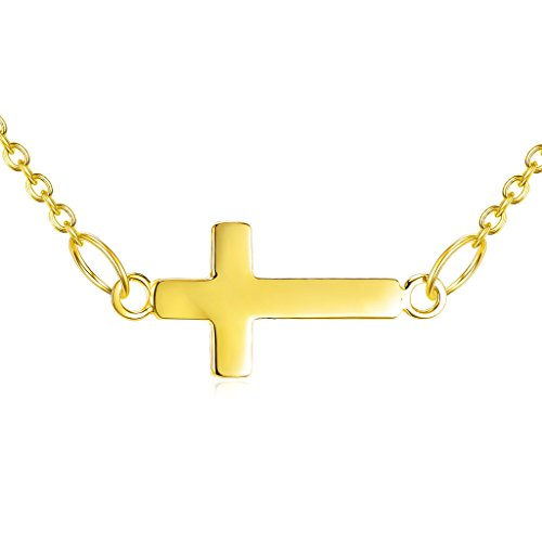 Over Gold Silver Sterling Cross - Gold over Sterling Silver Small Sideways Cross Necklace
