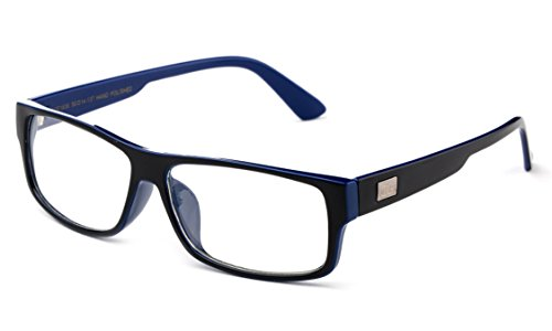 Newbee Fashion - Kayden Retro Unisex Plastic Fashion Clear Lens Glasses Black/Navy