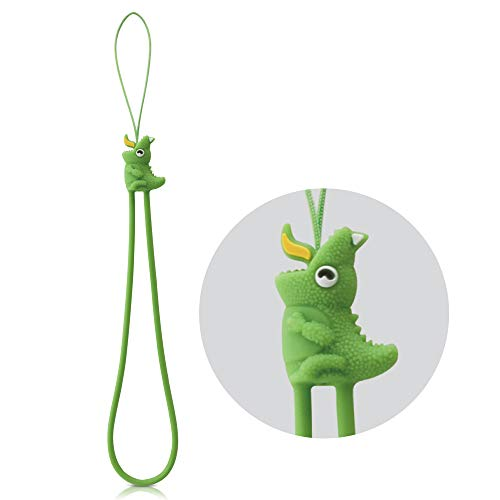 (Multipurpose Wrist Strap Phone Charm with Cute Animal Cartoon Character Silicone Elastic Bracelet Lanyard for Cell Phone iPhone Case, ID Badge Holder, Keys, Key Chain, USB Flash Drive - Green Dinosaur)