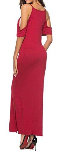 Red Party Pure Women's Dress Stylish Casual Long Cold Cromoncent Wine Color Shoulder U0Pnq