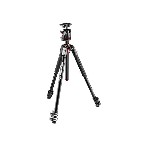 Manfrotto 190XPRO Aluminum 3 Section Tripod Kit with Ball Head MK190XPRO3 BHQ2Black