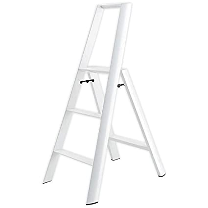 Magnificent Lucano Step Stool Slim Design 3 Step Folding Lightweight Aluminum Ladder White By Lucano Pabps2019 Chair Design Images Pabps2019Com